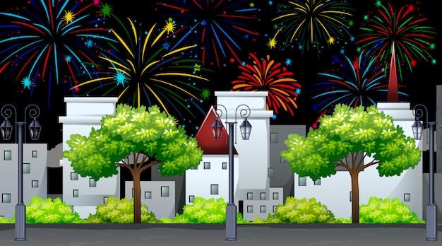 Cityscape with celebration fireworks scene