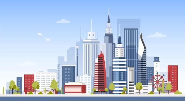 都市のダウンタウンの建物がある街並み。高層ビルのある近代的なビジネス エリアのパノラマ ビュー