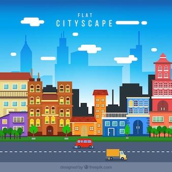 Городской пейзаж с цветными домами в плоском исполнении