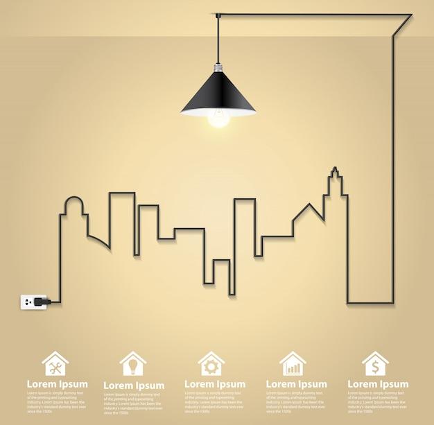Cityscape with creative wire light bulb idea concept