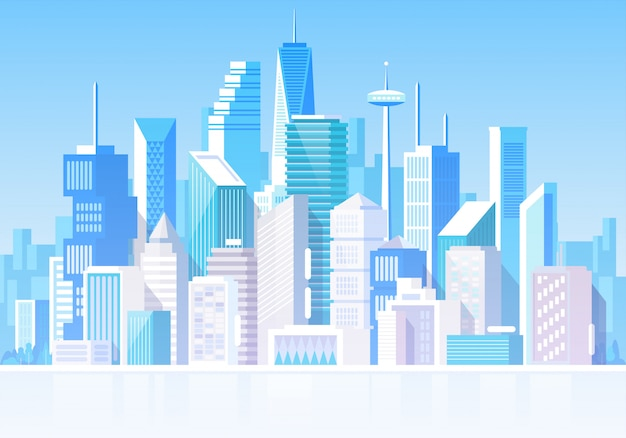 Cityscape with different buildings. private houses, cottage. office center. store house. headquarters.