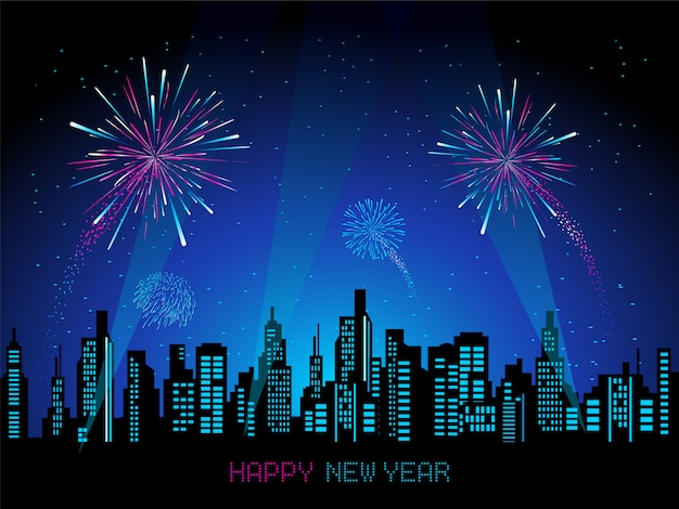 Cityscape with fireworks vector