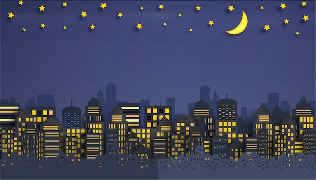Cityscape with group of skyscrapers in the night.