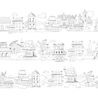 Cityscape with hand drawn doodle houses