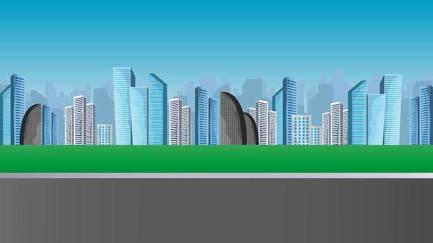 현대적인 대형 건물이있는 풍경입니다. 거리, 고속도로.