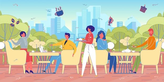 Городской пейзаж с людьми в уличных кафе.