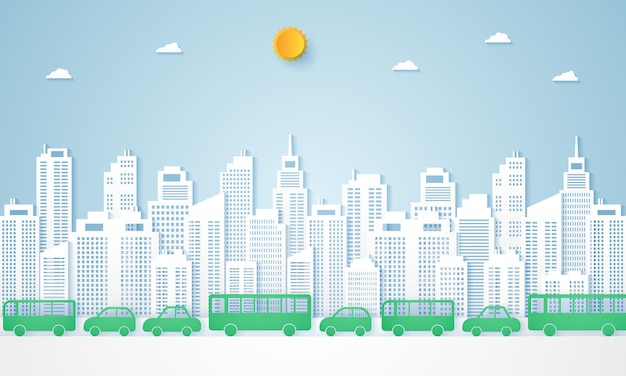 Cityscapes and landscape of panoramic building with transportation in paper art style