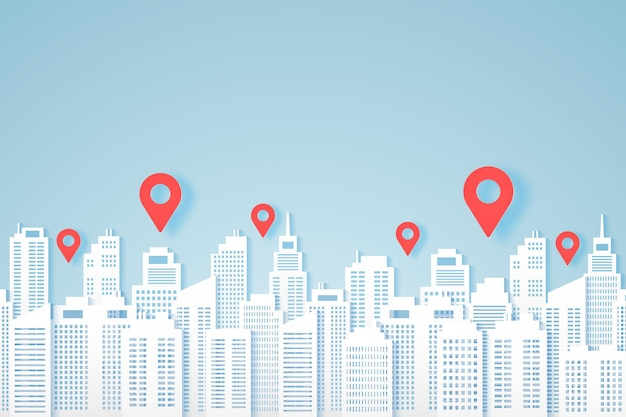 Городские пейзажи, бумажное здание с указателями местоположения