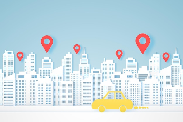 街並み、紙の建物、黄色い車が目的地に行く、ロケーションマーカー