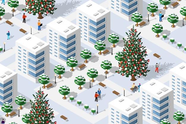 Ciudad isométrica en navidad