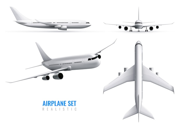 Civil aircraft realistic identity set of white airplane in top side and front views isolated