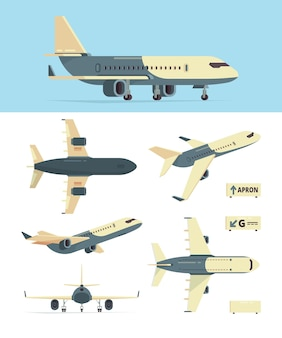 Civil aviation plane. model of different airplanes views aircraft collection. plane aviation, civil airplane, aircraft for passenger illustration