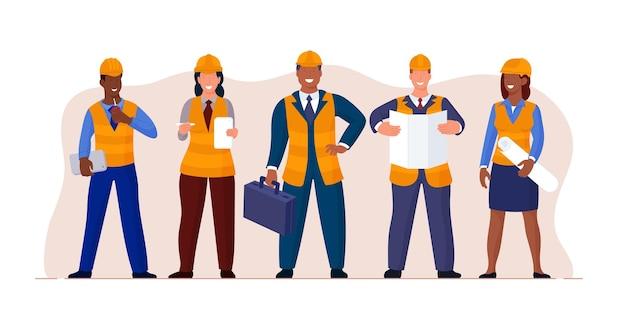 土木技師建築家建設労働者キャラクターグループ。プロの専門家の専門家、青写真、ブリーフケースのベクトル図と作業服とヘルメットの便利屋と職長