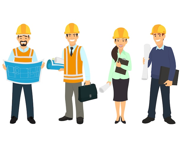 Civil engineer, architect and construction workers