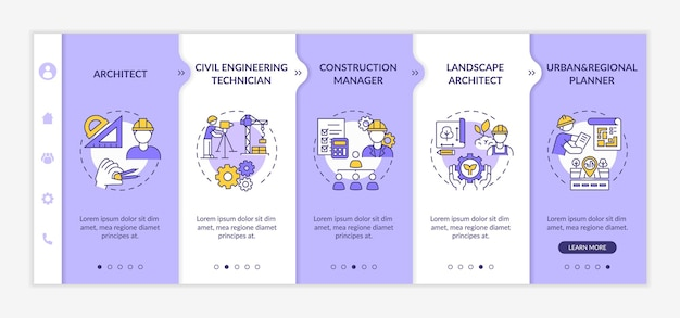 Civil engineering expert worker onboarding  template. professional architect, project manager. responsive mobile website with icons. webpage walkthrough step screens. color concept