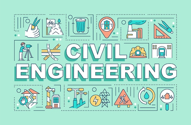 Civil engineering word concepts banner