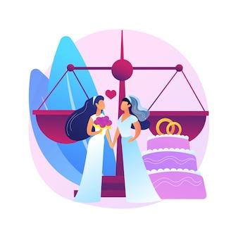 Illustrazione di concetto astratto di unione civile. società civile omosessuale, stesso sesso, due sposi, fedi nuziali, coppia gay o lesbica, diritto di famiglia, intolleranza e pregiudizi