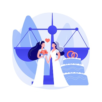 Civil union abstract concept vector illustration. civil homosexual partnership, same sex, two grooms, wedding day rings, gay or lesbian couple, family law, intolerance and bias abstract metaphor.