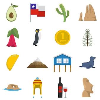 Cjile travel icons set
