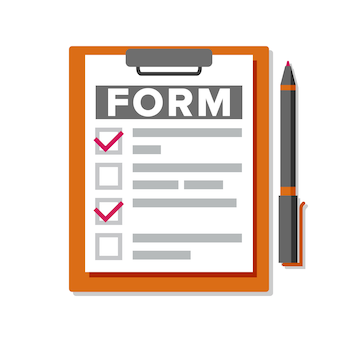 Claim form. business document.