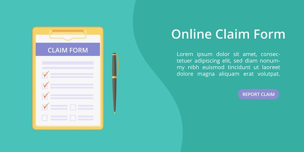Claim form on clipboard with pen web template