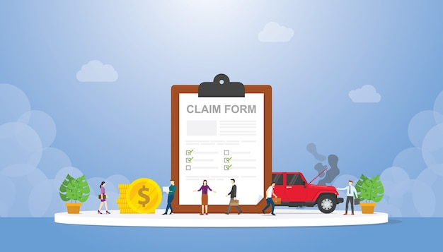 Claim form on the clipboard with team people and car crash with modern style illustration