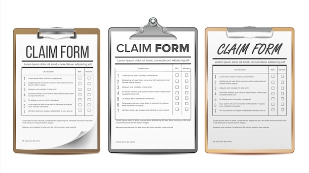 Claim form set.