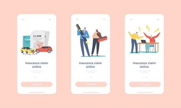 Claim insurance mobile app page onboard screen template. tiny characters characters with huge stamp and pen, dispute with agents for denied policy paper concept. cartoon people vector illustration