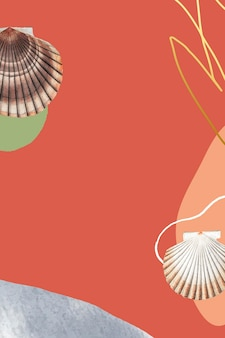 Clam shell and clamshell pattern on orange background
