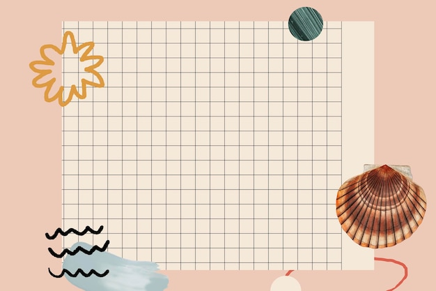 Clam shell pattern on grid background Free Vector