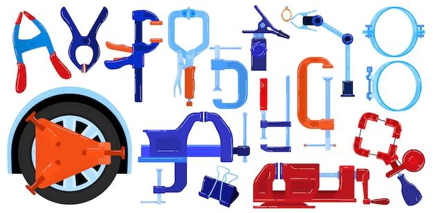 Clamp compress hand tools vector illustration set.