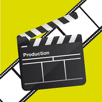 Clapboard icon over yellow background, vector illustration