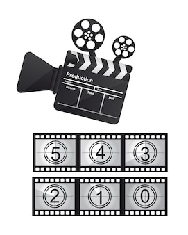 Clapboard and video camera film