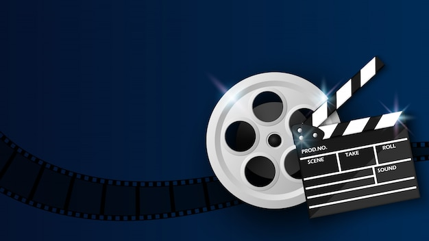 Clapper board and film reel on blue