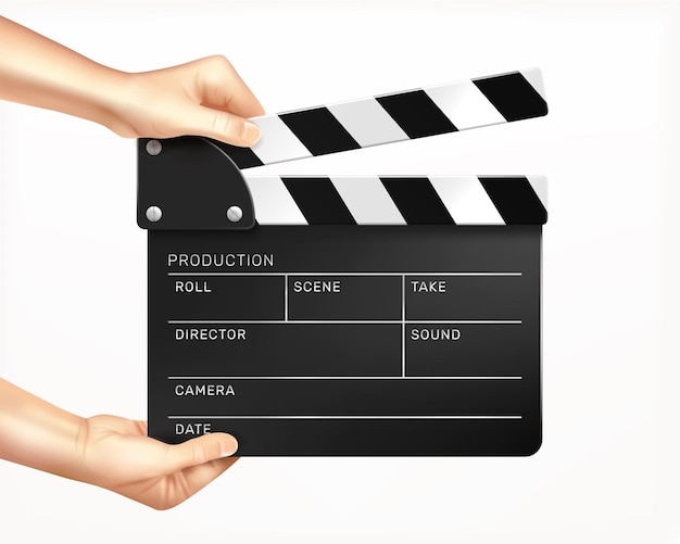 Clapper board in hands realistic composition with human hands holding clapper with empty text fields