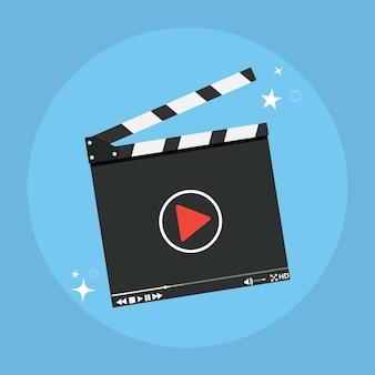 Clapper board icon. film production concept .
