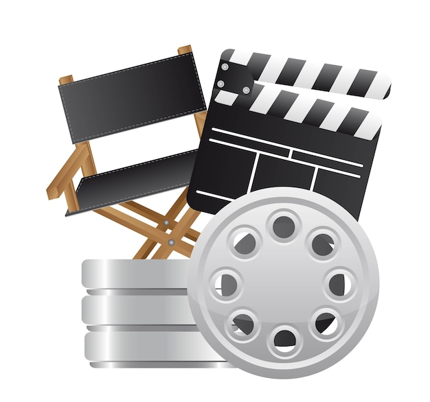 Clapper board with director chair and film stripe vector