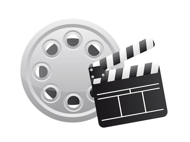 Clapper board with film strip over white background vector