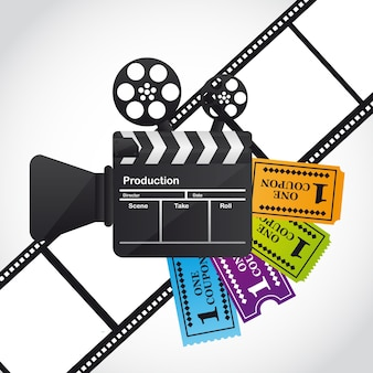 Clapper board with tickets over film stripe vector illustration