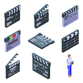 Clapper icons set, isometric style
