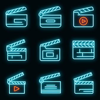 Набор иконок клаппер. наброски набор векторных иконок трещотки неонового цвета на черном