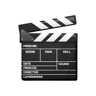 映画のカチンコ。ヴィンテージ映画、エンターテインメント、レクリエーション。 Premiumベクター