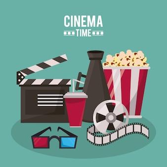Clapperboard megaphone drink 3d glasses popcorn and film reel