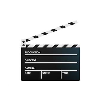 白い背景の上のカチンコ。制作と映画のコンセプト。