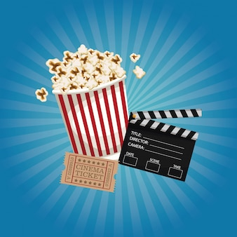 Clapperboard and popcorn and ticket movie