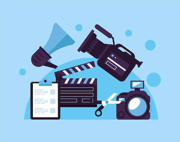 Clapperboard with video production set icons