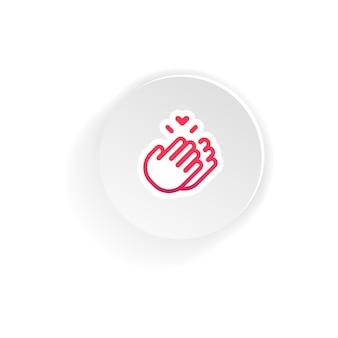 박수 손 아이콘입니다. 모형, 스티커 템플릿에 서명해 주셔서 감사합니다. 격리 된 흰색 배경에 벡터입니다. eps 10