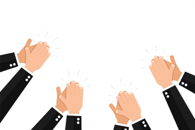 Clapping hands of people wearing elegant formal suits