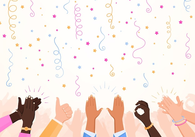 Clapping ok heart hands applause party composition with set of confetti stars and human hand