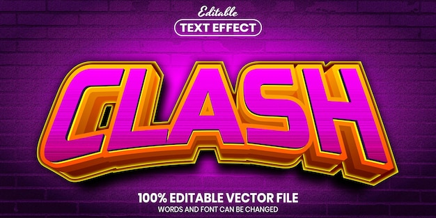 Clash text, font style editable text effect